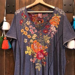 Johnny Was v-neck Blue Denim Embroidery Dress